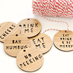 4 Christmas decor ornament Choose your own bamboo word tags decoration