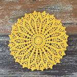 Crochet doily, sunny yellow, seafoam, teacher's gift, retro home