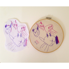 Custom Kids Art Embroidery Hoop Wall Hanging.