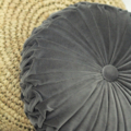 Vintage Style Mid Grey Velvet round cushion