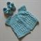 Baby Cardi & Bootie Set, 3-9m, Aqua Wool, Hand Knit