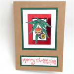Christmas Card - Gum leaf Branch with Ornaments, Kraft
