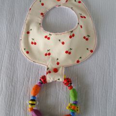 Pacifier Bib / Teether Bib / Binky Bib - Cherries!