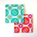 4 x Reversible Fabric Coasters - Flowers & Leaves in Circles