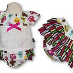 SIZE  00 - Owls Ruffle Bum SET