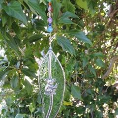 Gumleaf leadlight suncatcher - green with pewter koala