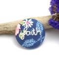 Faith Embroidered Brooch  on Tilda Designer Fabric- Encourage & Inspire