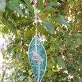 Gumleaf leadlight suncatcher - aqua blue with pewter kookaburra