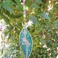 Gumleaf leadlight suncatcher - aqua blue with pewter kookaburra