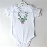 Green Chevron Rudolf Red Nose Reindeer Baby Onesie