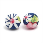 Faith designer Tilda fabric-covered button stud earrings - Encourage & Inspire