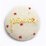 Peace Christmas Red Star Embroidered Brooch - Encourage & Inspire