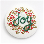 Joy Christmas Wreath Embroidered Brooch - Encourage & Inspire