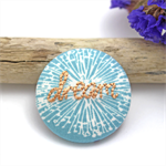 Dream Embroidered Brooch on blue dandelion print - Encourage & Inspire