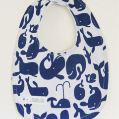 Blue Whale Bib or Bandana Bib with Double Layered  Absorbent Flannel Backing