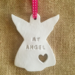 CLAY PERSONALISED CHRISTMAS TEACHER DECORATION REMEMBRANCE ANGEL GIFT  EMBOSSED