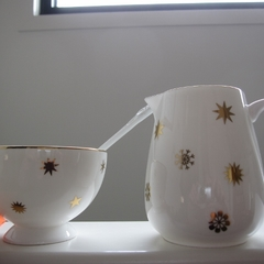 Hand decorated Jug, bowl and Spoon with Stars