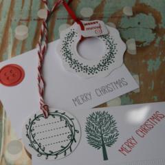 4 Piece Christmas Card and Gift Tag Kit ~ Christmas Pack