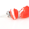 Red Heart macaron - macaroon stud earrings - food jewellery