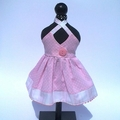 Pretty pink crossover halter sundress