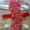 Christmas Chevron Chiffon Flower Headband Red & White