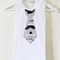 Cool Stretchy Cotton Singlet with Grey Moustache Necktie Applique