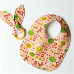 Girls red ridinghood fairytale baby bib and teether teething ring gift set