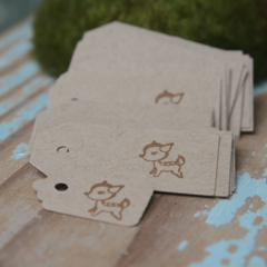 FREE POSTAGE 24 Little Deer Kraft Tags ~ Birthdays ~ Price Tags