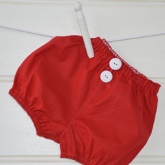Red bloomers - unisex, babies nappy covers, xmas, red and white
