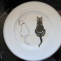 Hand painted Waterford plate with Cats