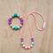 Kids Silicone Beaded Necklace & Bracelet Set - pink cord & multi coloured -