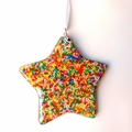 STAR BRIGHT - star shaped resin decoration filled with hundreds and thousands
