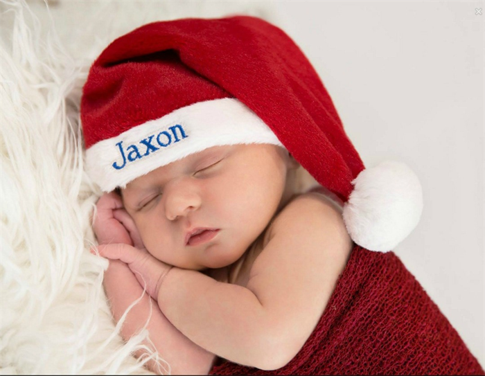 Christmas Santa Hat with Personalized child s name for Baby Girl or Boy.  7a3a02f2bc6