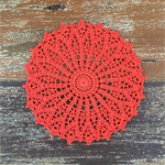 Crochet doily, large in bright orange, home decor