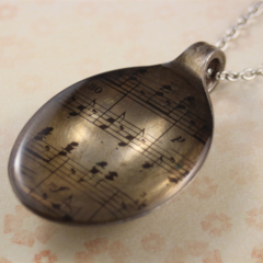 Upcycled/recycled vintage spoon resin pendant necklace, sheet music, art, print