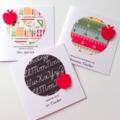 SAVE $$ SET OF 3 thank you #1 TEACHER chalkboard red apple pens book ruler card
