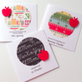 SET OF 3 thank you #1 TEACHER chalkboard red apple pens book ruler card