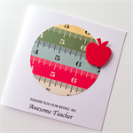 Awesome TEACHER thank you measure tape ruler red apple card