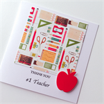 Thank you #1 TEACHER stationery pens pencils scissors book red apple card