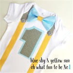 1st Birthday Onesie Boys Bow Tie and Suspenders Yellow, blue and grey