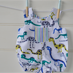 Baby romper - dinosaurs in blue, green and mustard. baby gifts