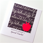 Thanks TEACHER special chalkboard red apple black white card