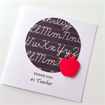 Thank you #1 TEACHER black white chalk board writing red apple card