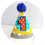 Baby Boy's First Birthday Party Hat . Yellow Aqua Orange