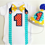 Bow Tie Onesie Summer Theme 1st Birthday Outfit Onesie and Party Hat.