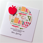 Thank you TEACHER stationery pens pencils scissors book red apple ADD NAME card
