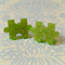 earrings studs puzzle pieces green glitter