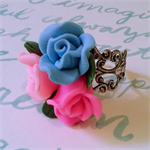 adjustable ring flowers silver pink blue