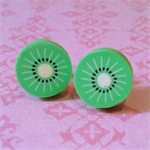 earrings studs kiwi fruit green summer