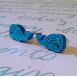 earrings studs blue whales glitter